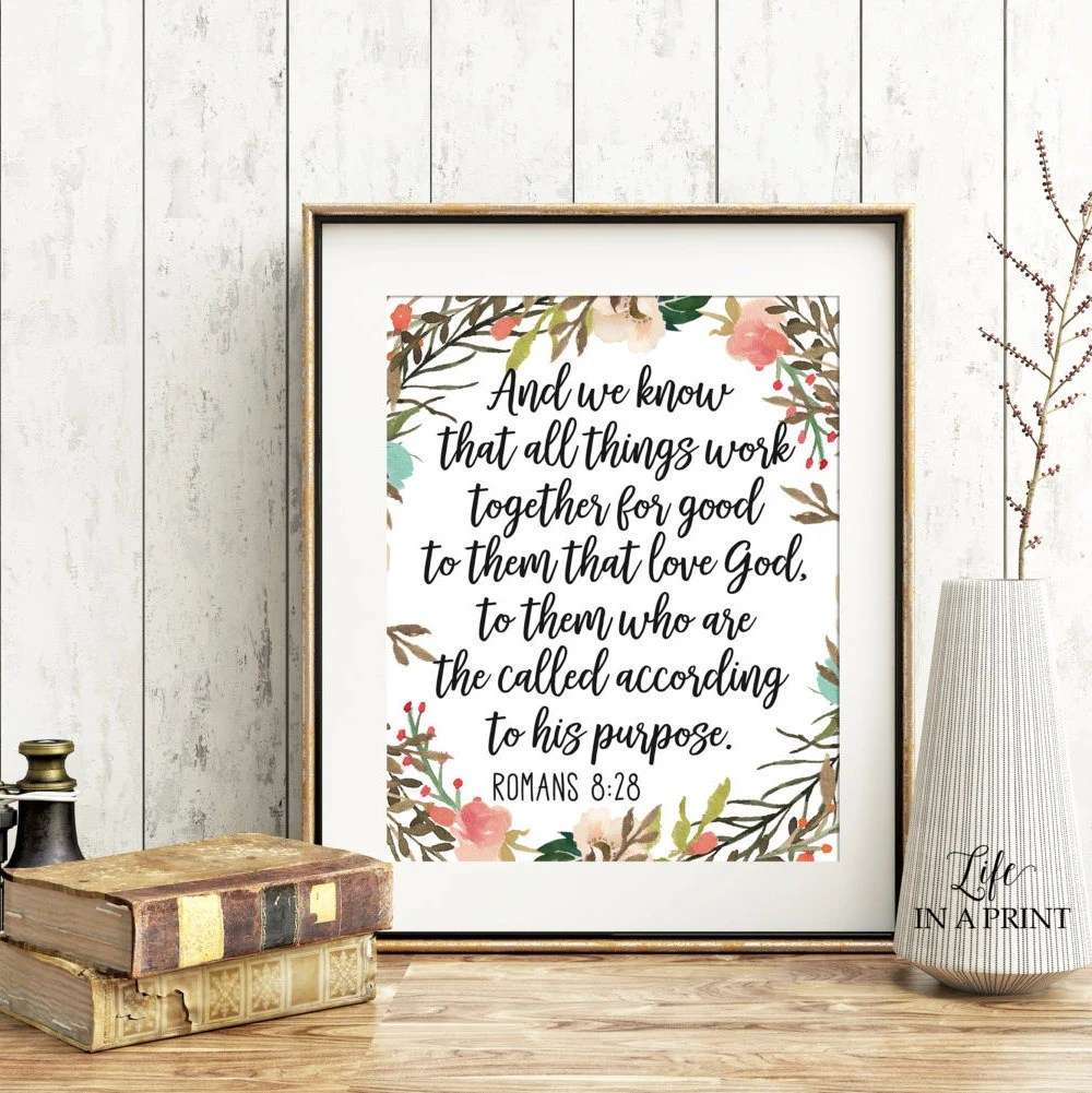 Printable Scripture wall art All things work together for Etsy