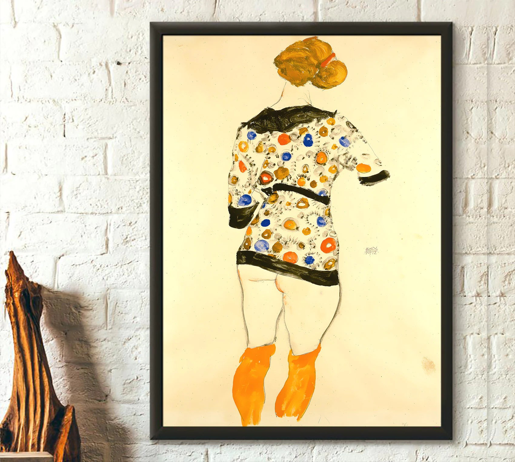 Egon Schiele Libro Egon Schiele Print Standing Woman In A Patterned Blouse 1912 Fine Art Print Schiele Poster Schiele Wall Art Birthday Gift Idea