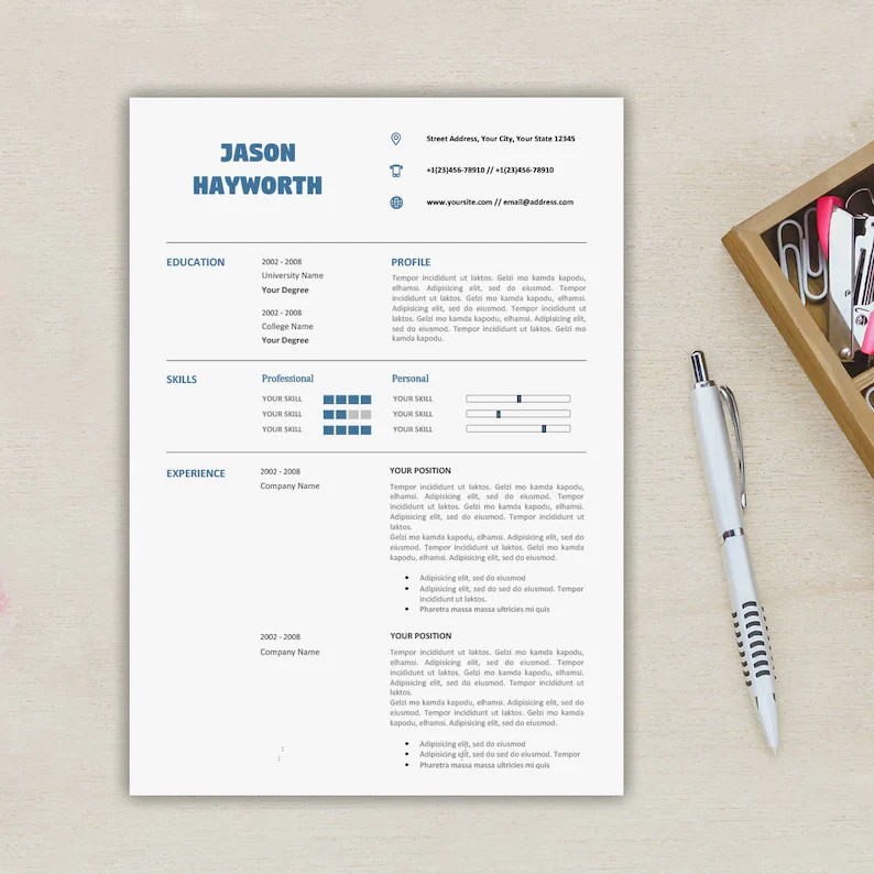 Modern 3 Pages Resume Template Free Cover Letter Etsy
