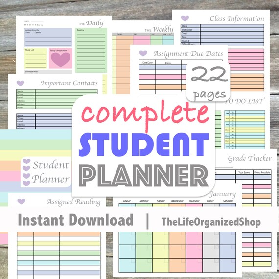 Student Planner College Student Planner/ High School Student Etsy