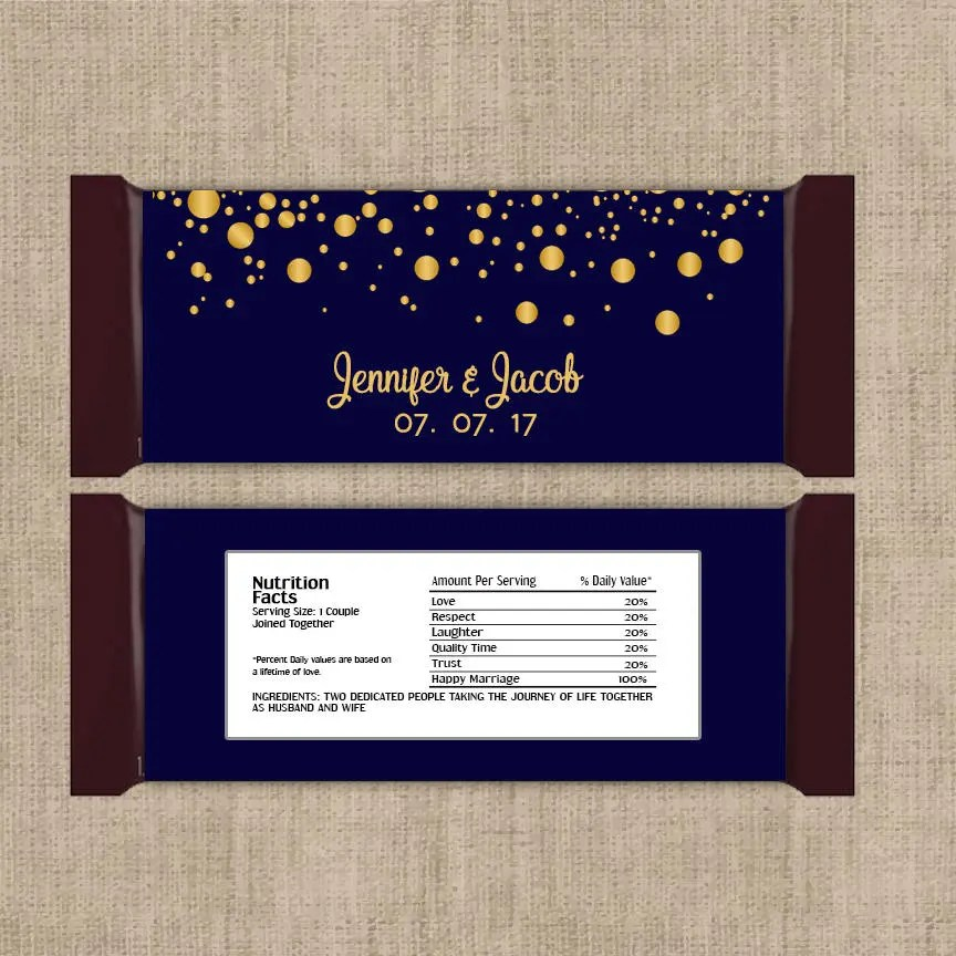 12 Large Personalized Gold Confetti on Navy Hershey Candy Bar