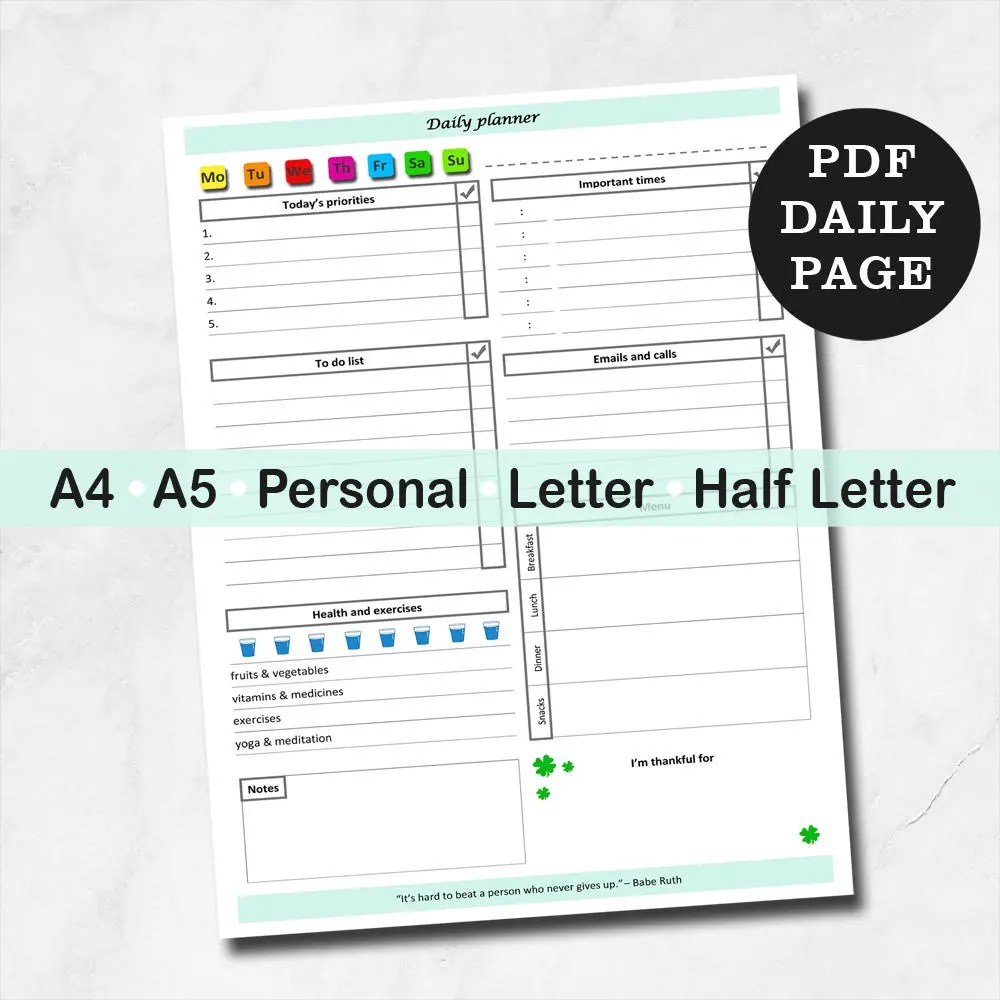 Personal daily inserts to do list planner daily planner Etsy