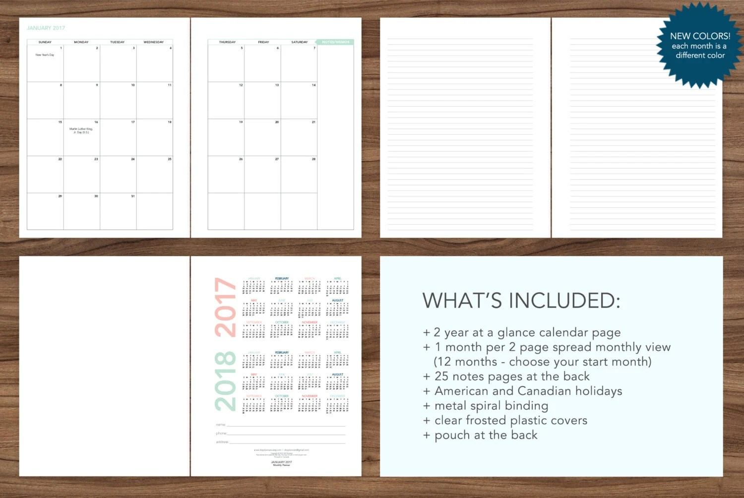 2019 MONTHLY planner / 12 month calendar / choose your start Etsy
