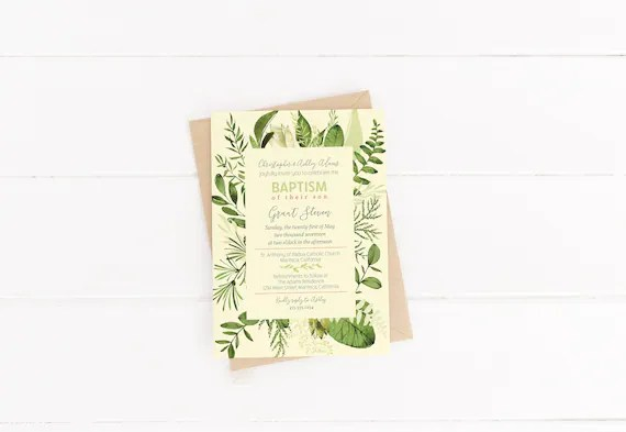 Garden Baptism Invitations Rustic Bridal Shower Wedding