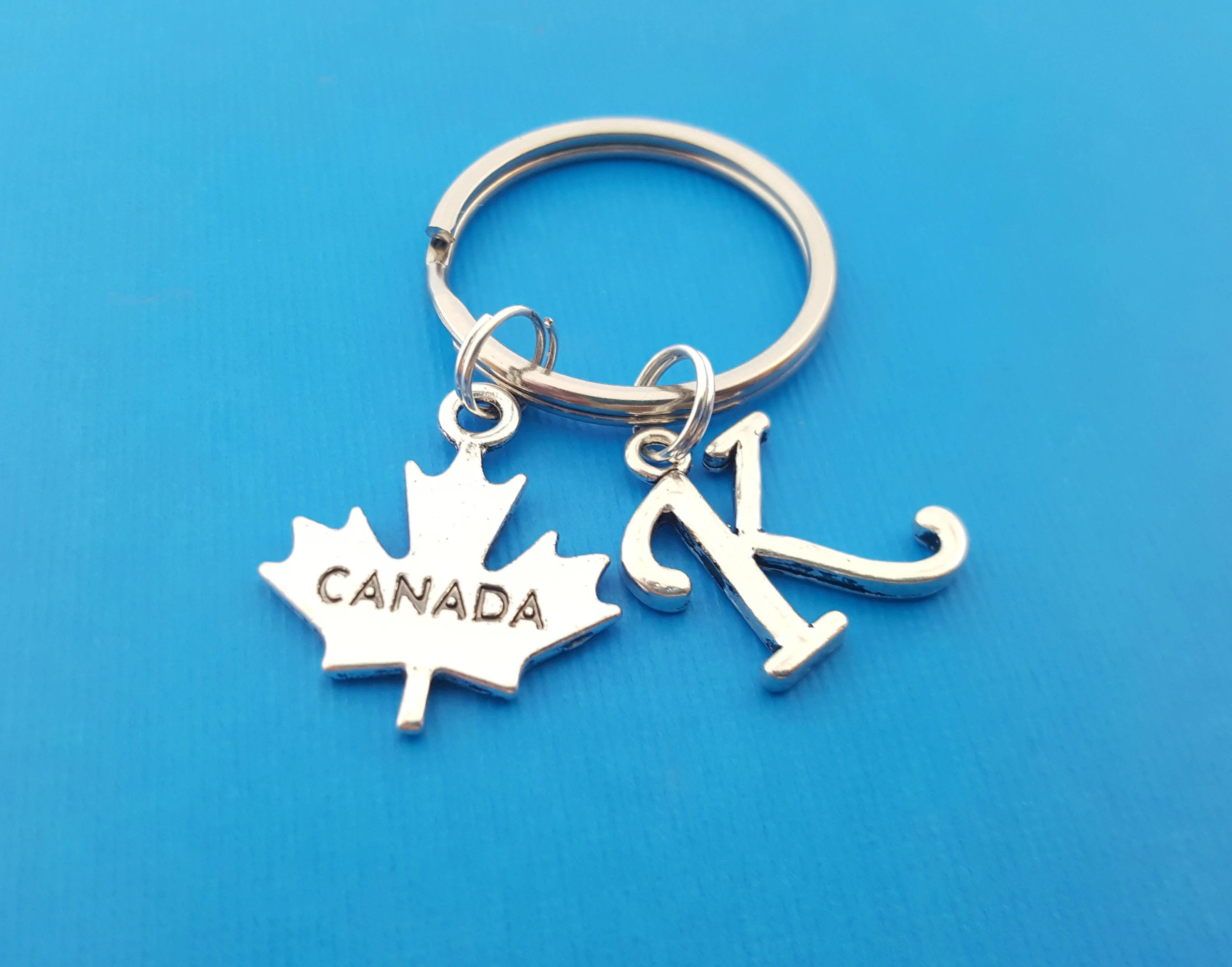 Key Rings Canada Canada Charm Personalized Key Chain Initial Key Chain Custom Key Chain Personalized Gift Gift For Him Her