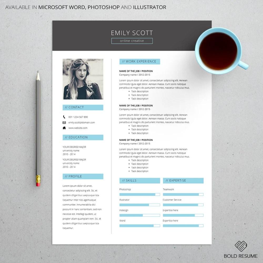 Elegant Creative Resume Template for Microsoft Word Etsy
