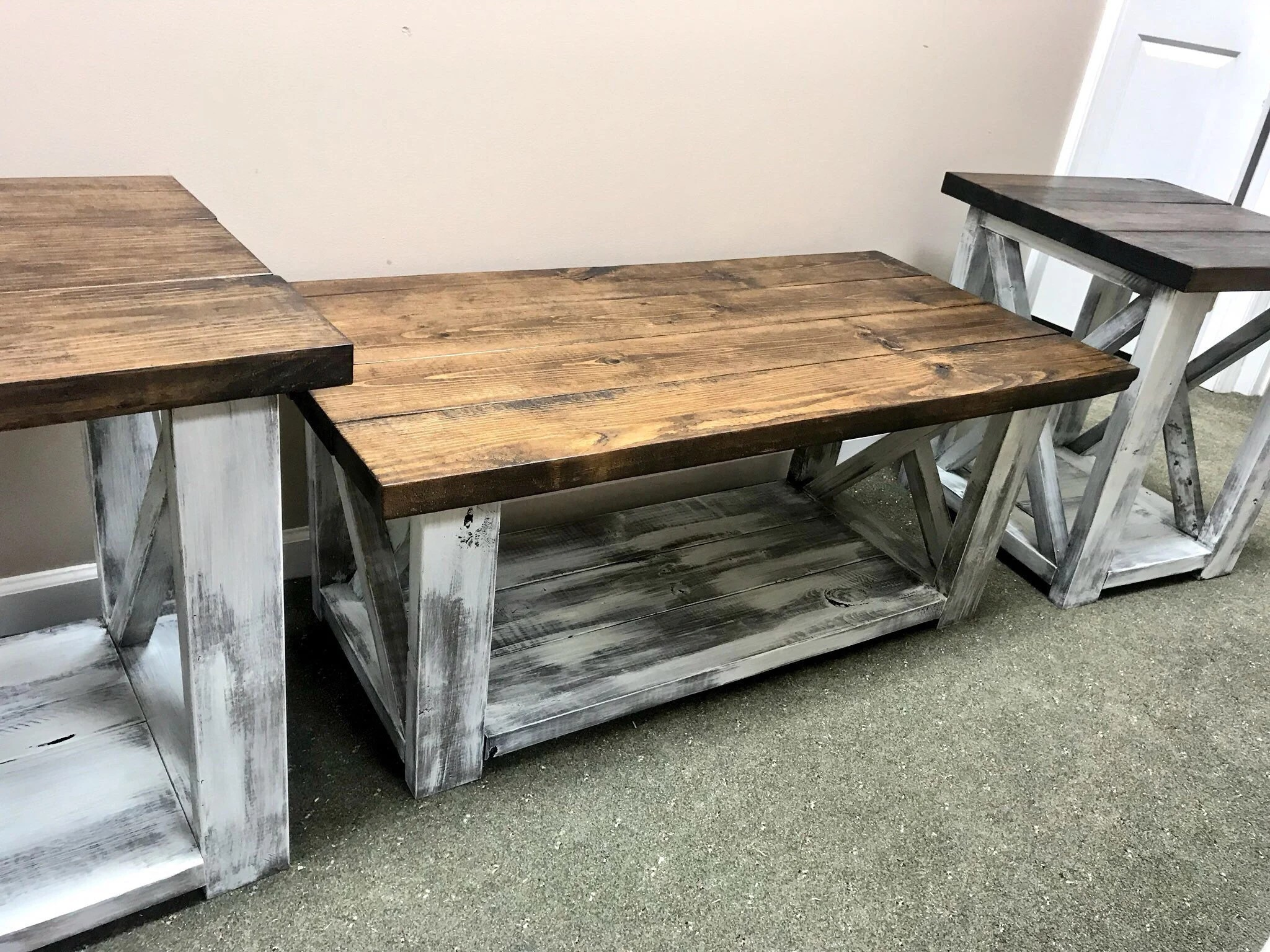 End Table For Living Room Farmhouse Living Room Set End Tables Set And Coffee Table With Distressed White Base And Dark Walnut Top Rustic Living Room Furniture X