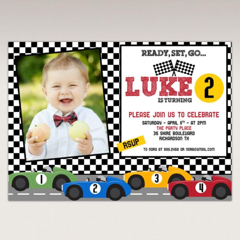 Racing Car Birthday Party Invitation printable Photo Etsy