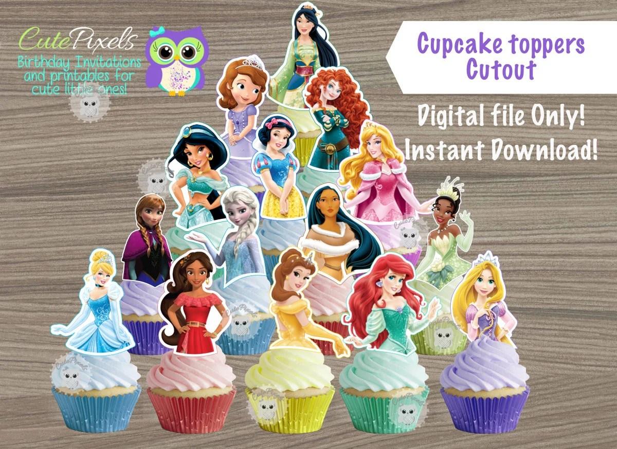 Disney Princess Cupcake Toppers, Disney Princess Birthday, Princess