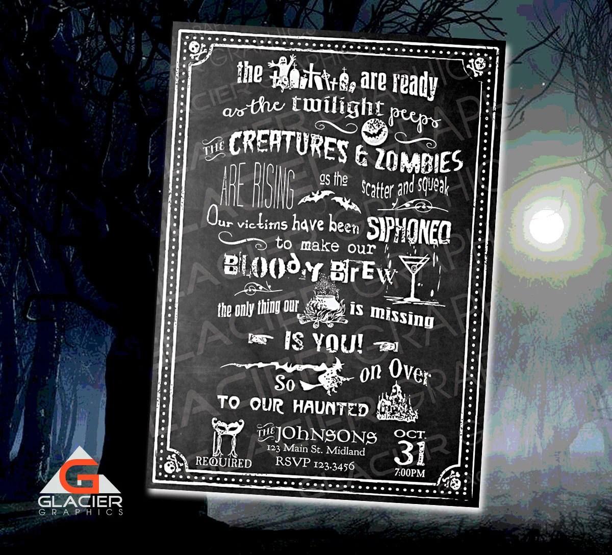 Custom Halloween Chalkboard Invitation Template Custom Etsy