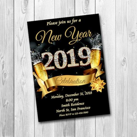 New Years Invitation New Years Party Invitation New Etsy