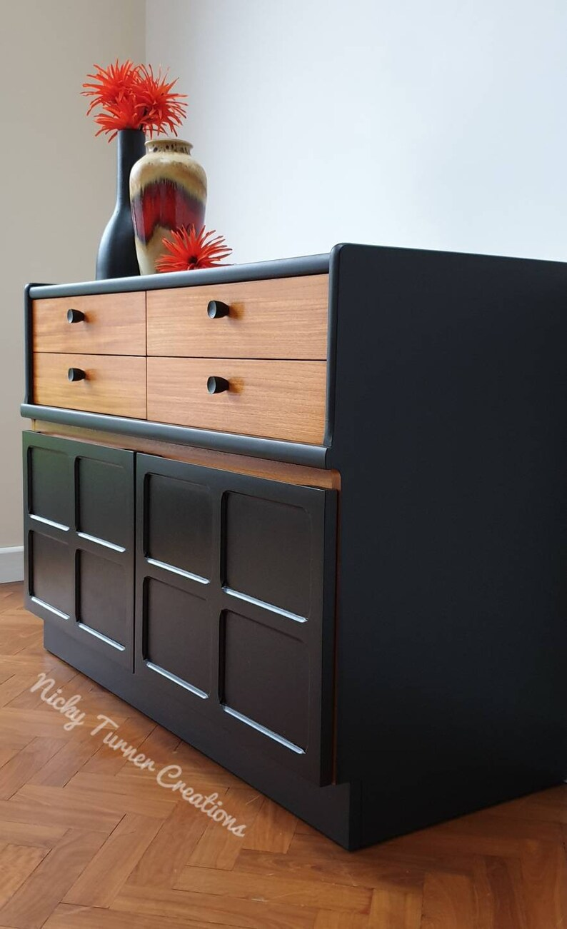 Retro Tv Cabinet For Sale Nathan Midcentury Sideboard Retro Tv Cabinet In Coal Black And Teak