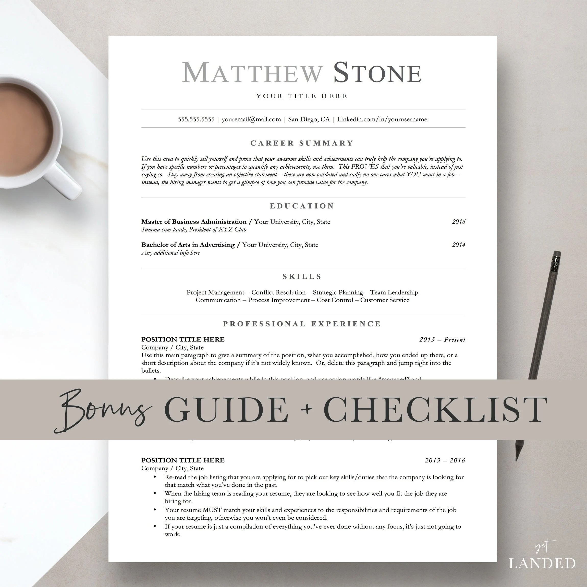 Professional Resume Template for Word Pages  Open Office Etsy
