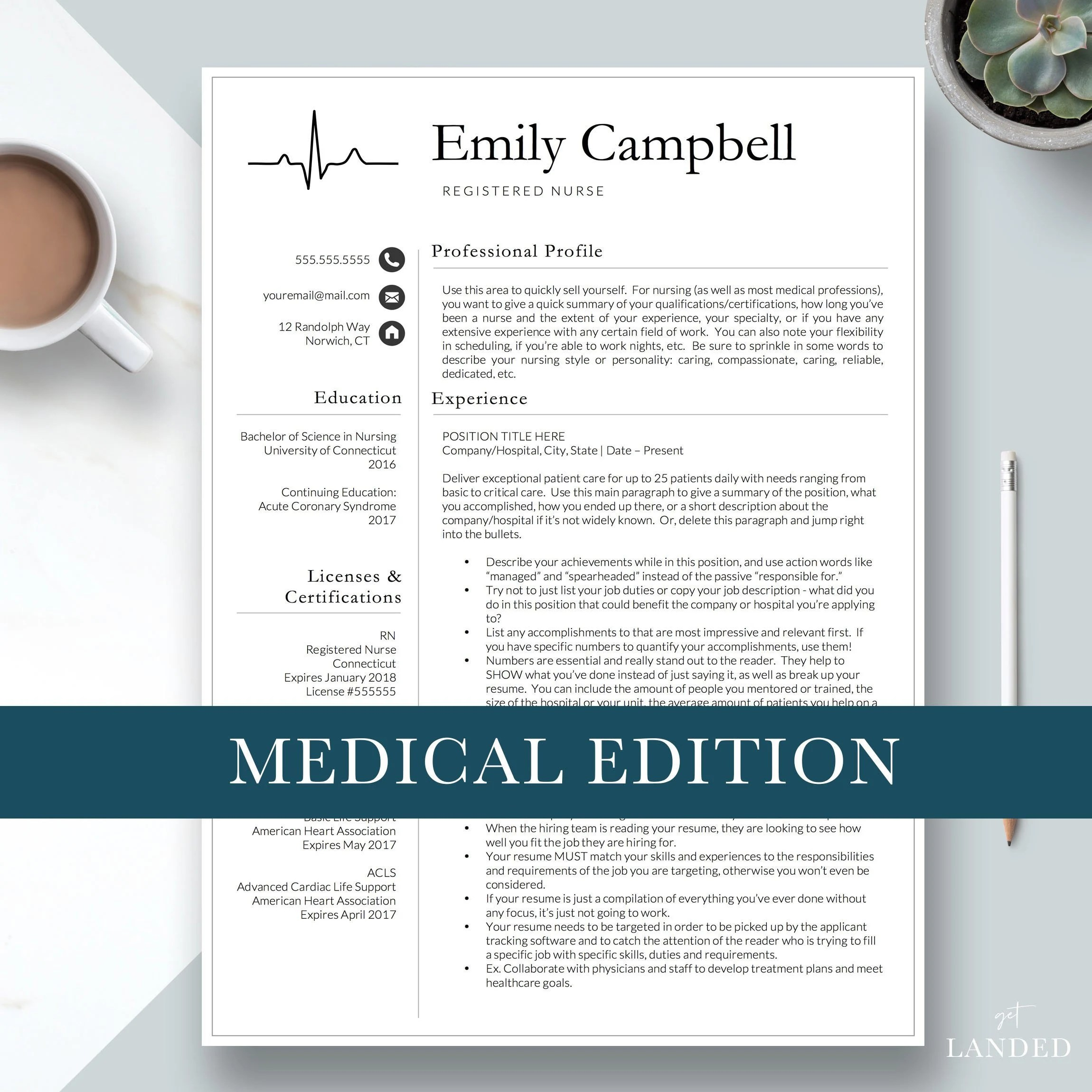 Nursing Resume Template / CV for Nursing Student Nurse Etsy