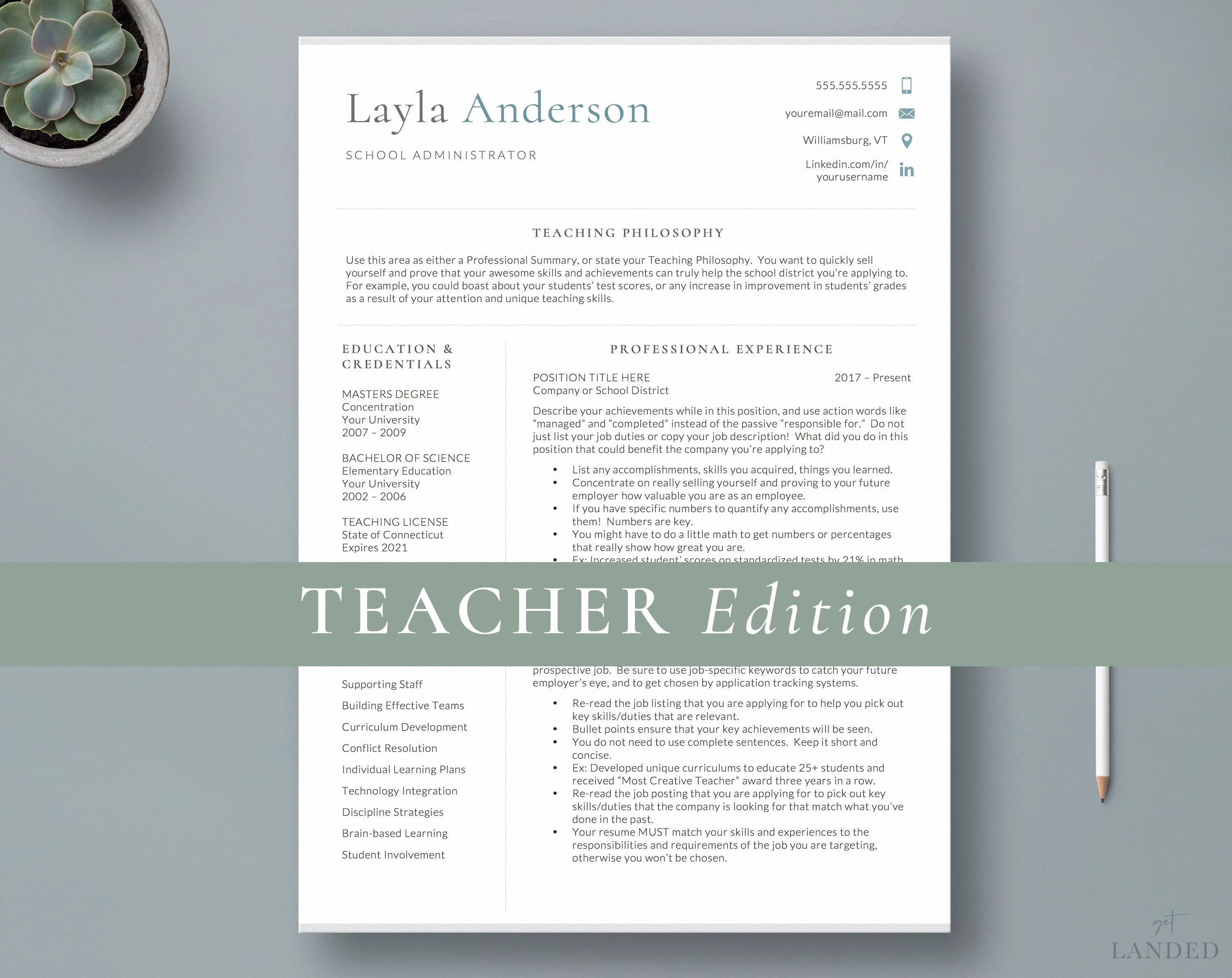 Principal Resume Template Teacher Resume Template / 2 Page Etsy