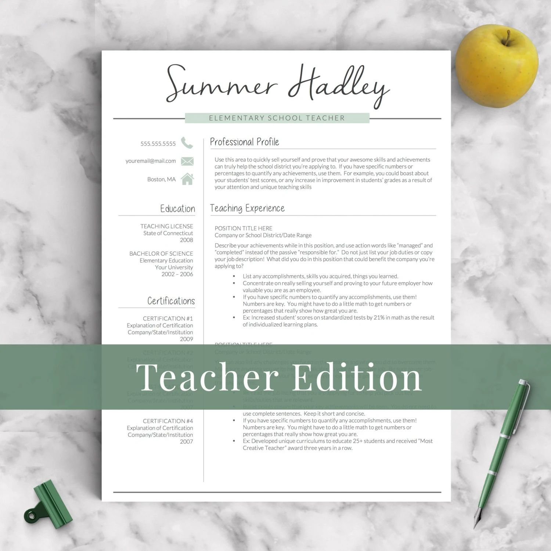 etsy resume teacher template