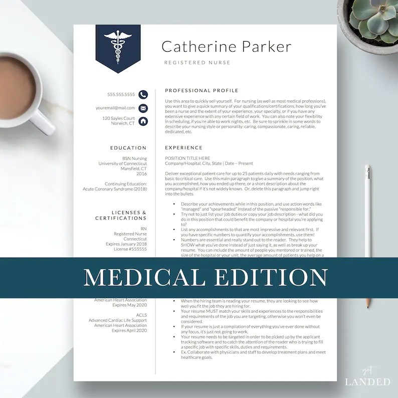 Nursing Resume Template for Word  Pages Nurse Resume Doctor Etsy
