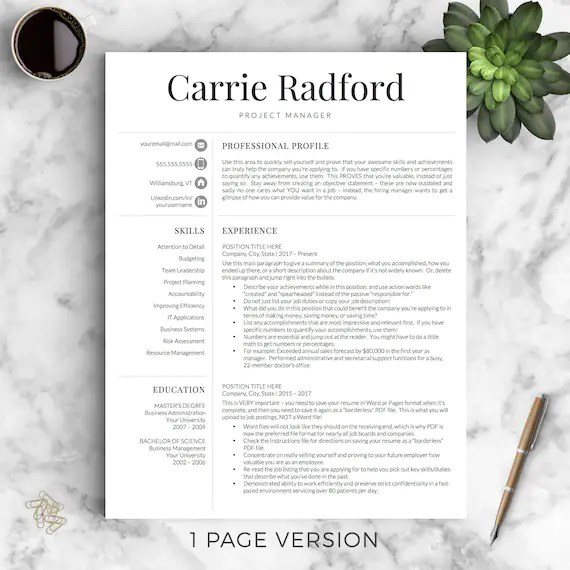 Professional Resume Template for Word  Pages Professional Etsy