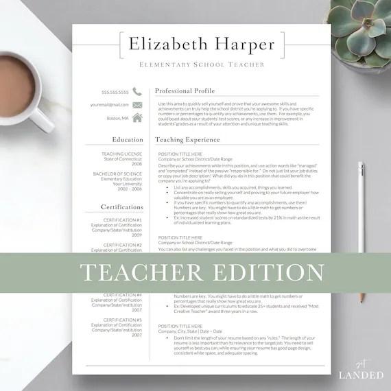 Teacher Resume Template for Word  Pages Teacher CV Etsy