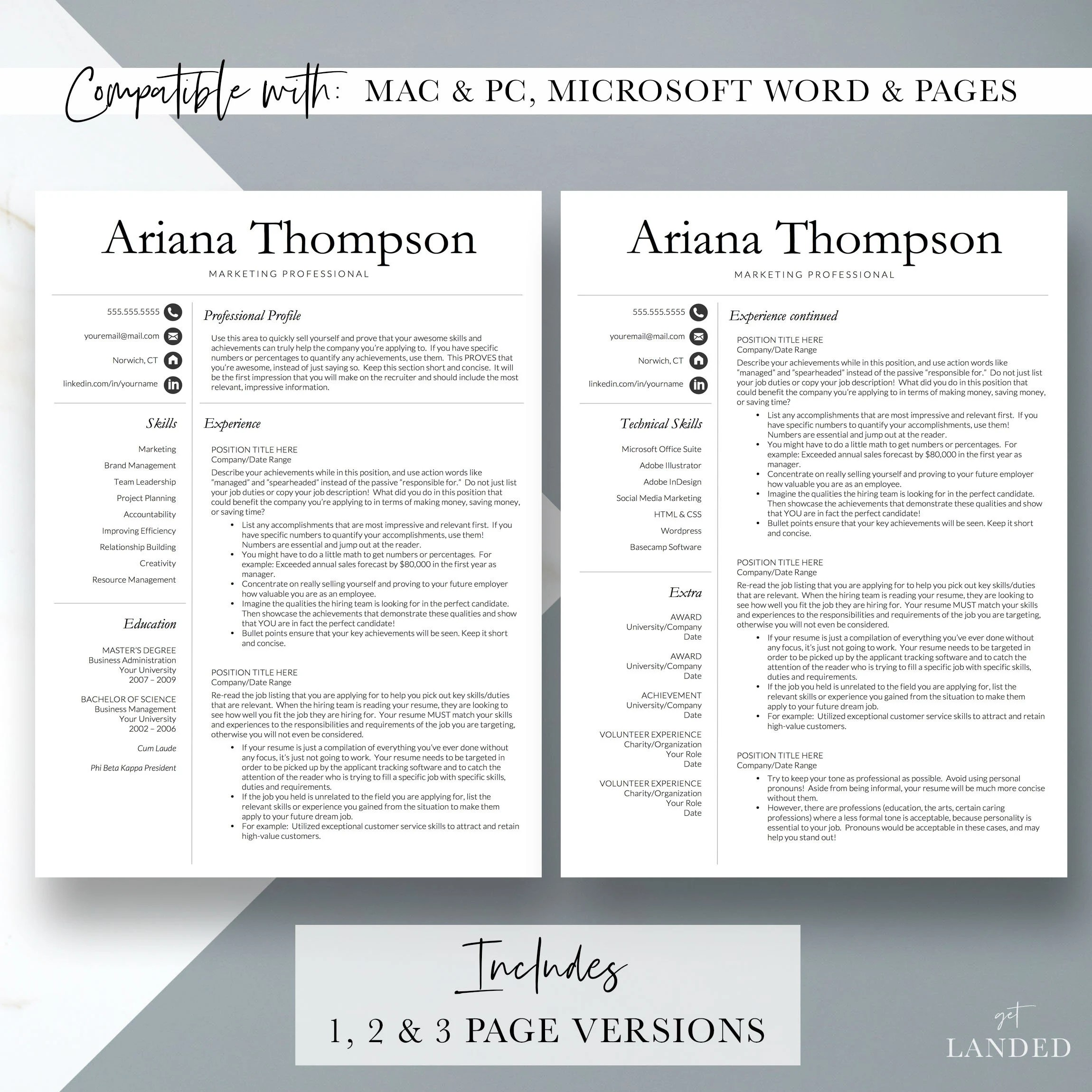 Simple Professional Resume Template for Word and Pages 1 2 Etsy