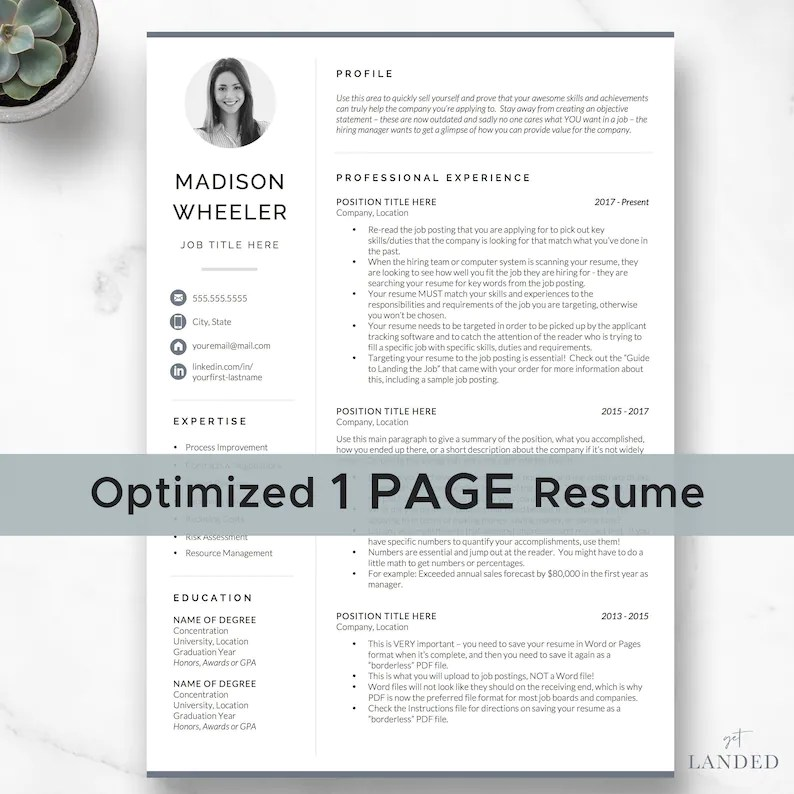 One Page Resume with Photo / CV Template with photo / Creative Etsy