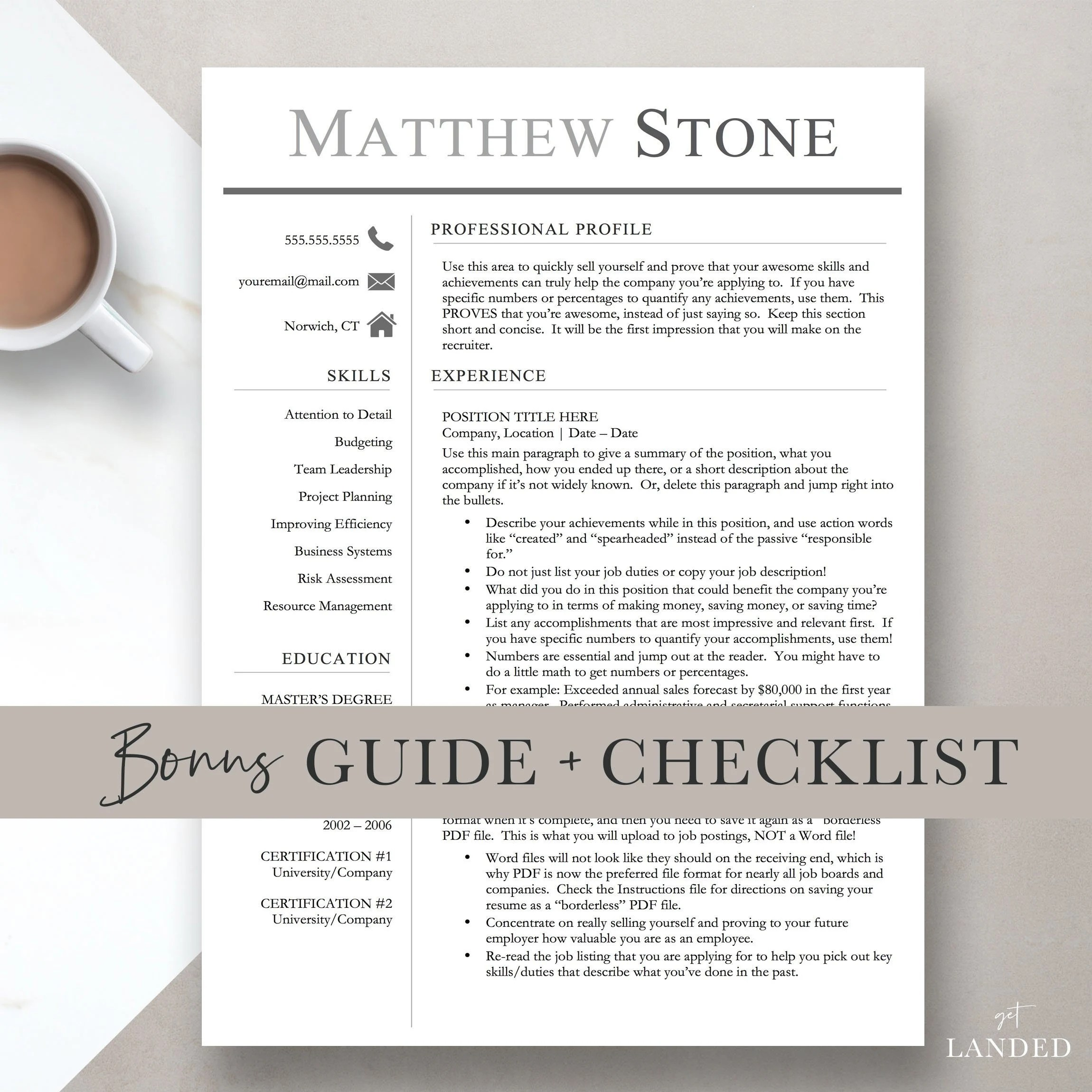 Executive Resume Template for Word  Pages One Two and Etsy