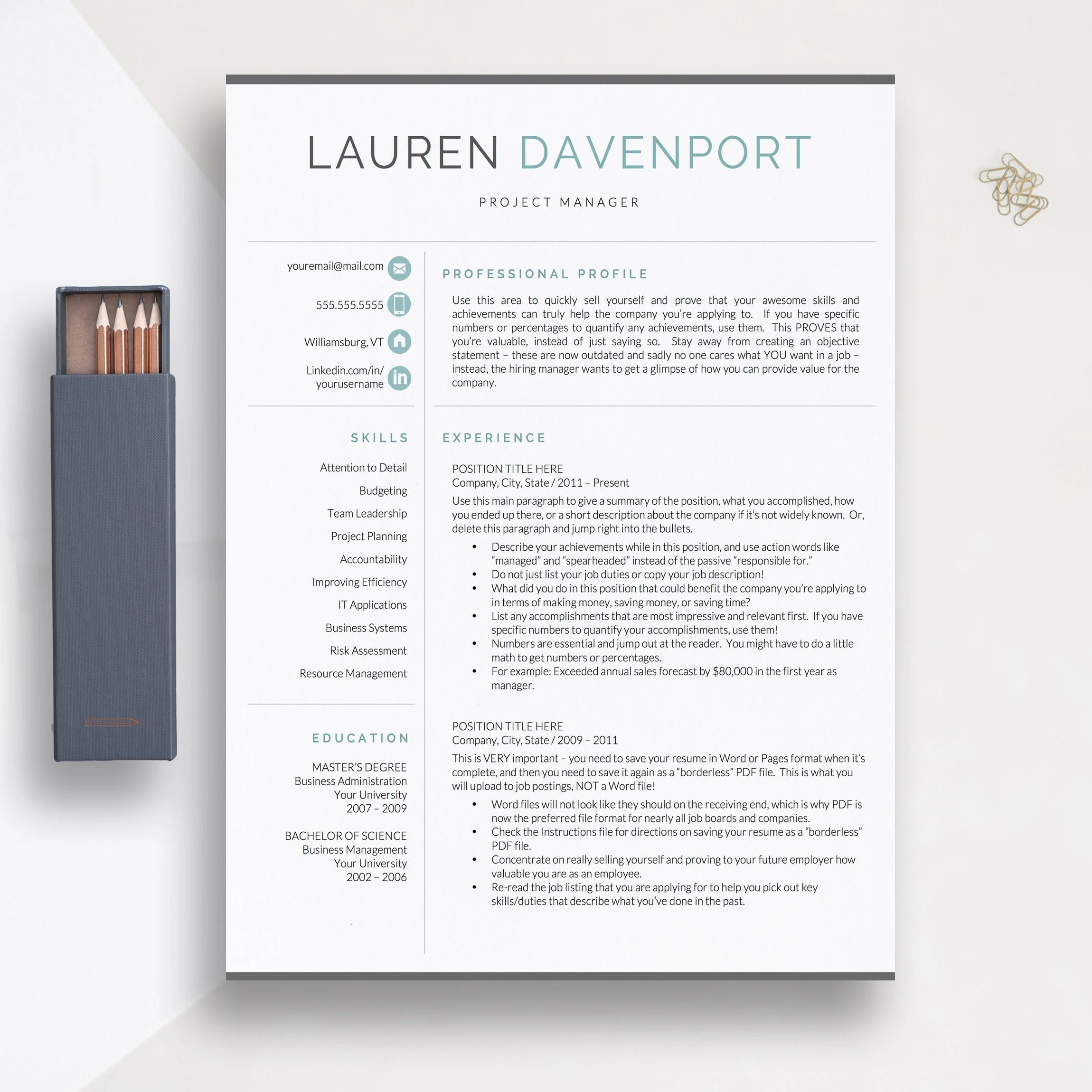 Modern Resume Template 1 2 and 3 Page Resume Templates Etsy