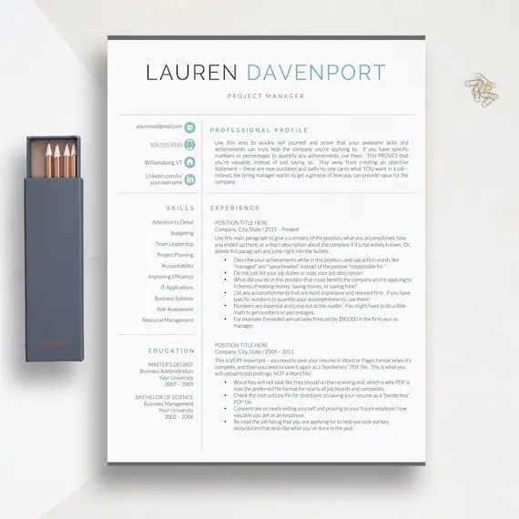 Modern Resume Template 1 2 and 3 Page Resume Templates Etsy - modern resume templates