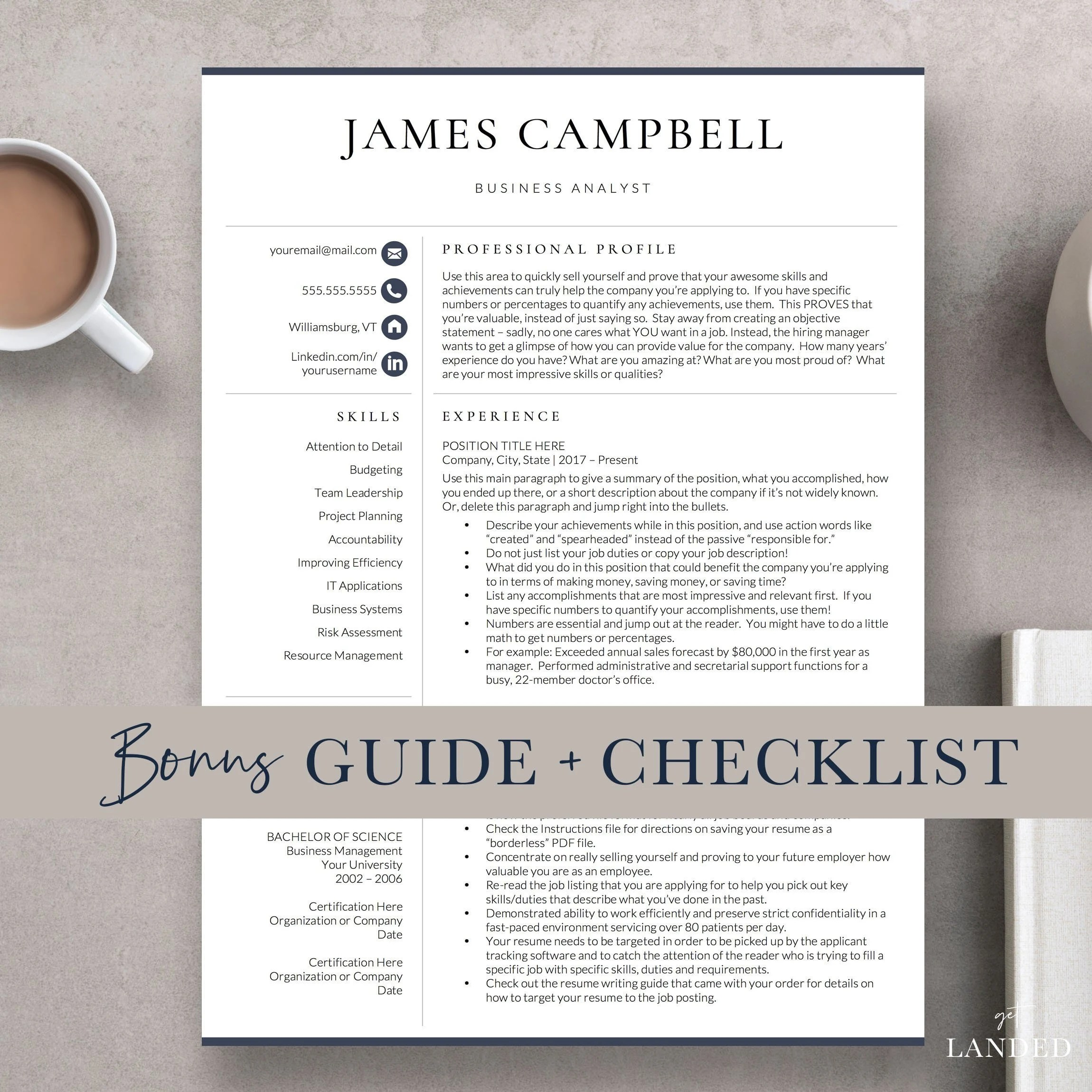 Executive Resume Template Professional Resume Template for Etsy