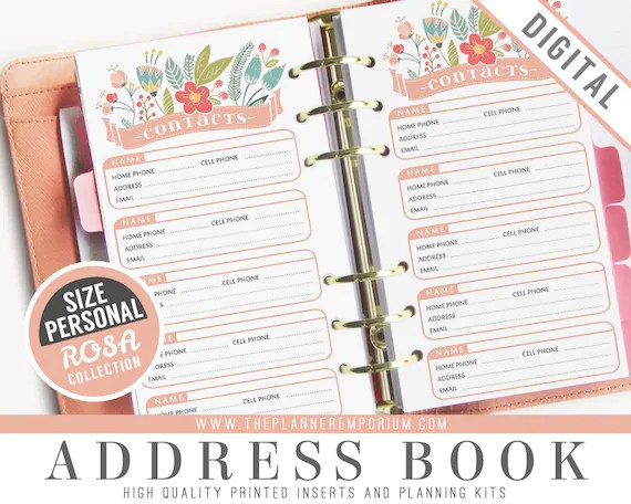 Personal Address Book Inserts ROSA Collection Fits Kikki K Etsy