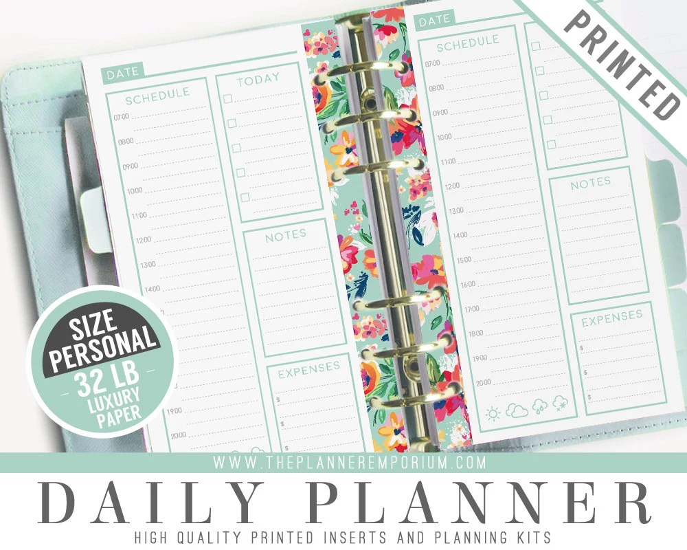 Personal Daily Planner Inserts (PRINTED) - LAYLA Collection - Kikki
