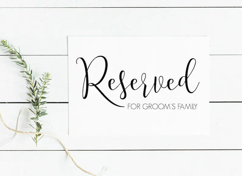 printable reserved table signs  wedding table signs sweet