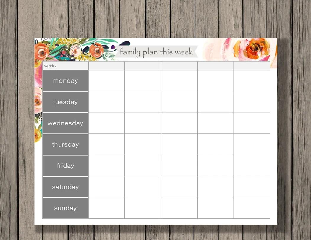 Weekly Calendar Printable Family Plan Printable Schedule Etsy