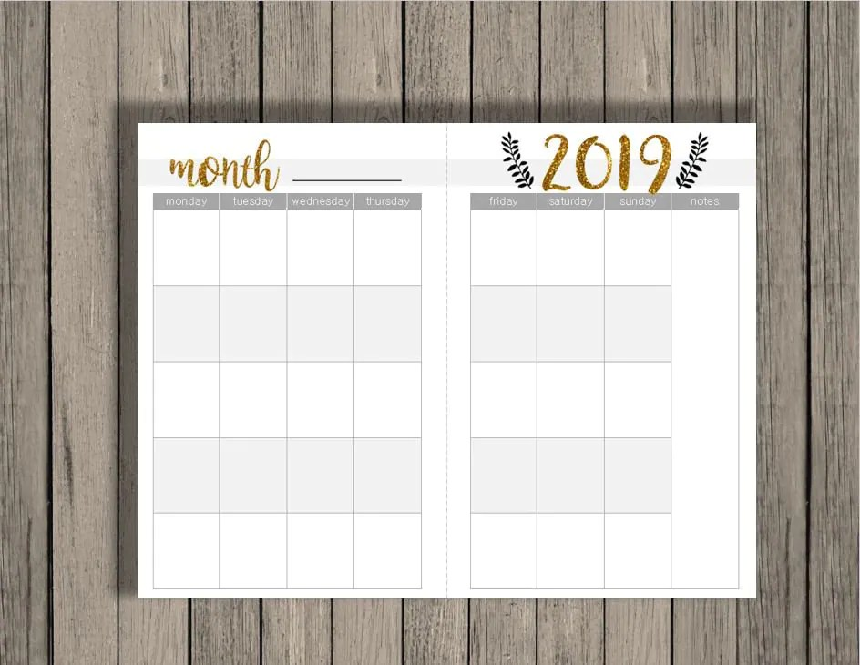 Monthly Calendar Printable, monthly calendar across 2 half pages