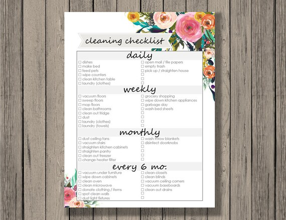 Cleaning checklist printable daily weekly monthly and Etsy