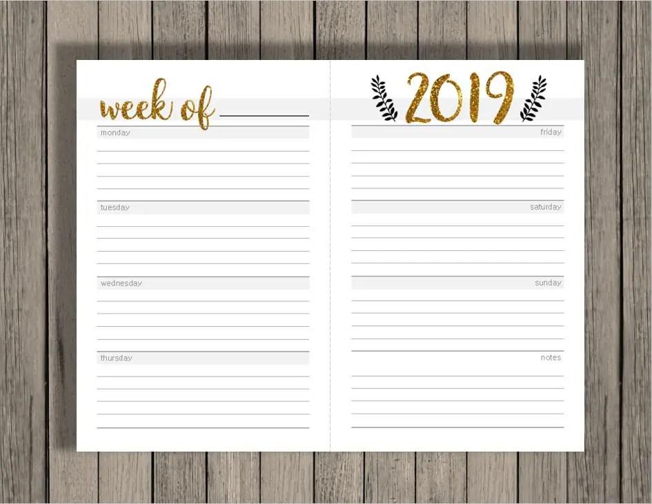 Weekly calendar printable, 2018 2019 calendar printable, blank