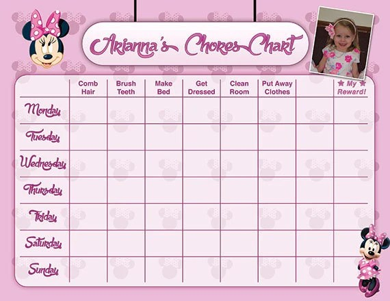 Minnie Mouse Pink Potty Chart Potty Training Chart Potty Etsy