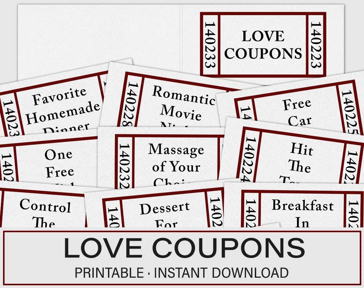 Valentines Day Gift Love Coupons Valentines Day Coupons Etsy