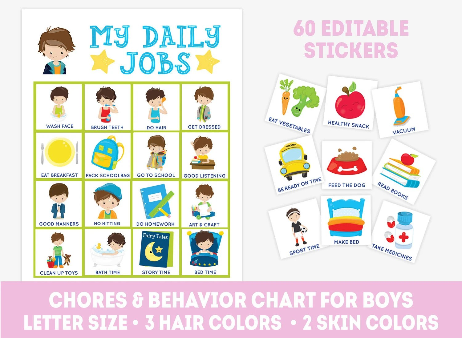 Editable chore chart for boys 60 stickers toddler Etsy