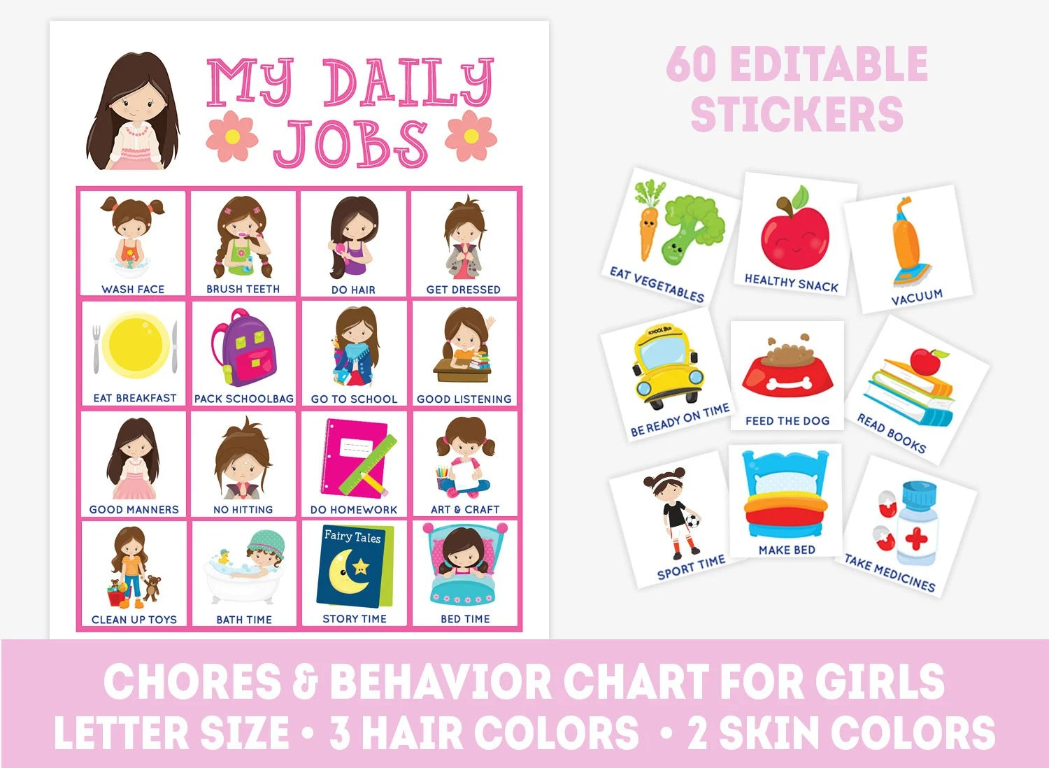 Printable chore chart for girls 60 editable stickers daily Etsy
