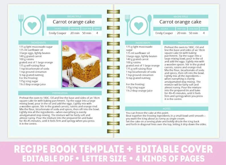 Recipe book template PDF mint editable recipe book Etsy