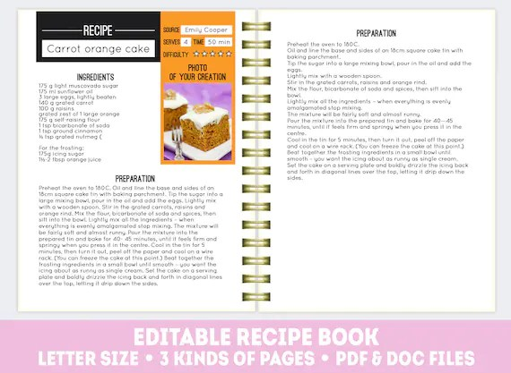 Recipe book template PDF + DOC, editable recipe pages, printable