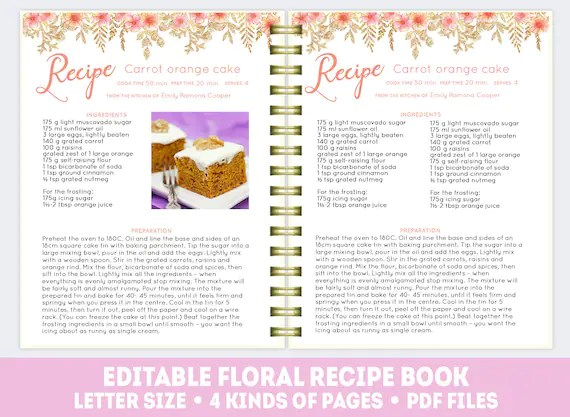 Floral recipe book template pink editable cookbook recipe Etsy