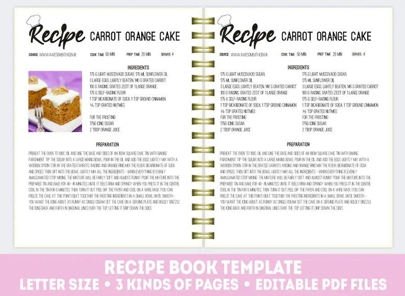 Editable recipe book cookbook template recipe binder kit Etsy