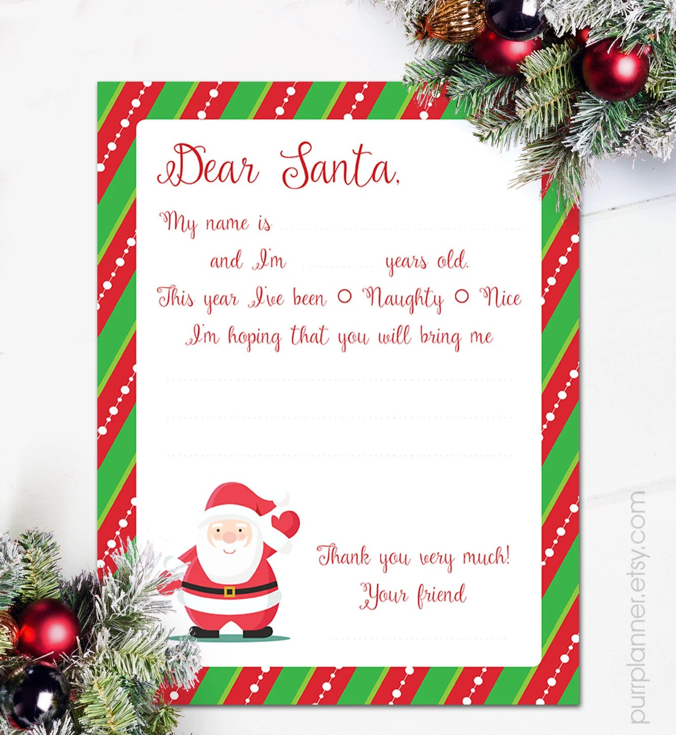 Printable letter to Santa Claus Dear Santa christmas Etsy
