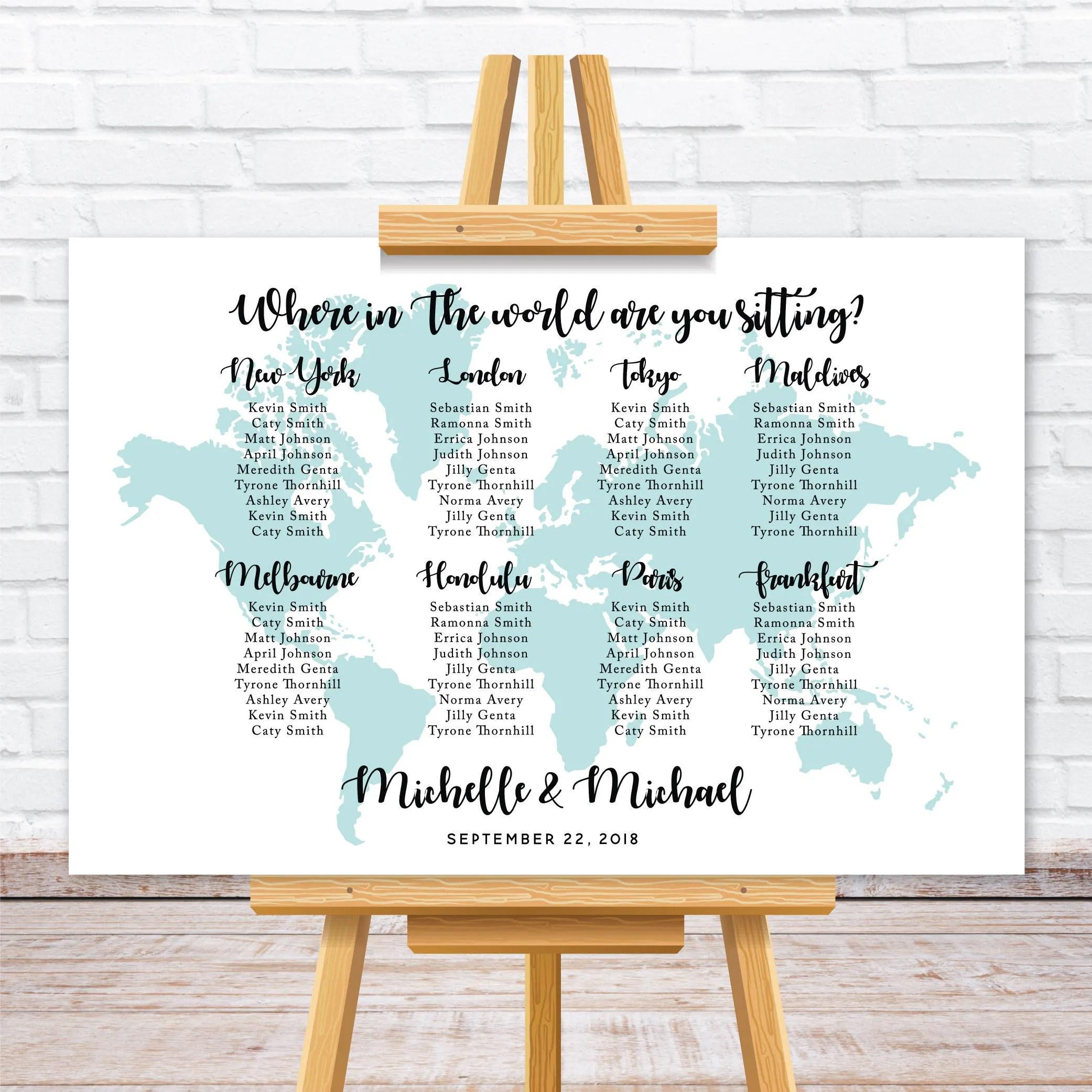 World map wedding seating chart Travel theme wedding seating Etsy
