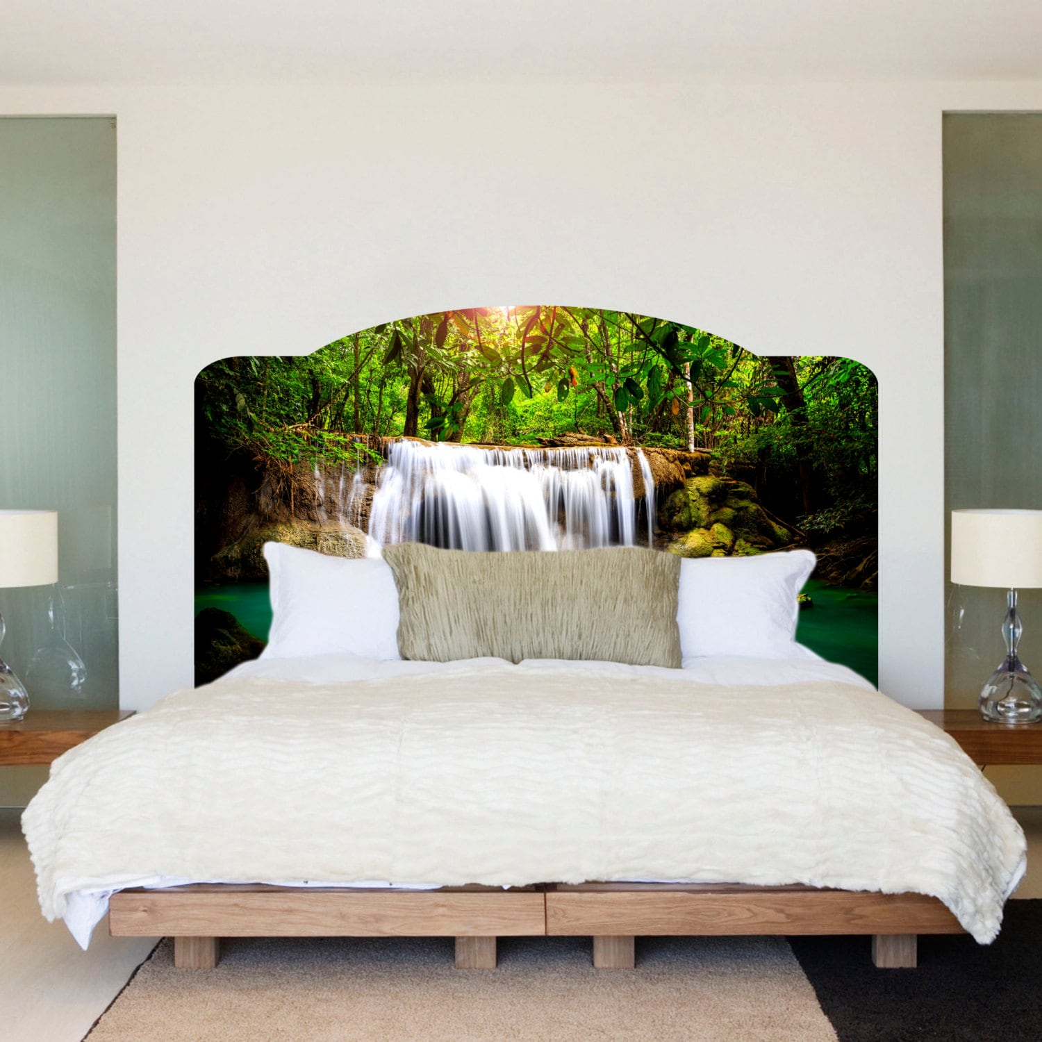 Bed Headboard Waterfall Bed Headboard Wall Mural Waterfall Headboard Art Sticker Headboard Wall Art Mural Headboard For Bedrooms Headboard Wall Decal A10