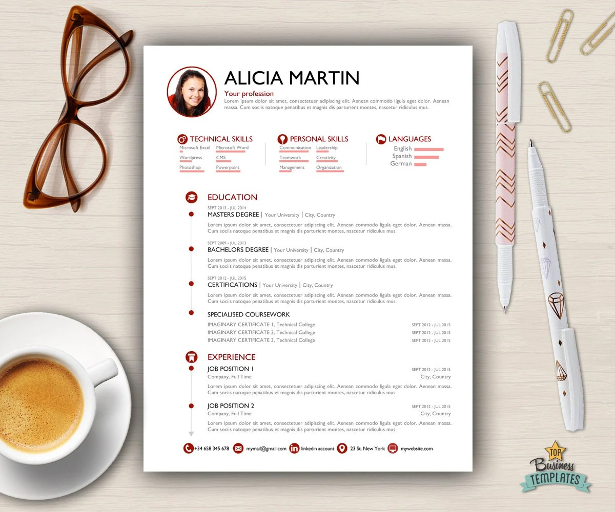 Resume Template Cover Letter 2 page CV A4  USA Letter Etsy