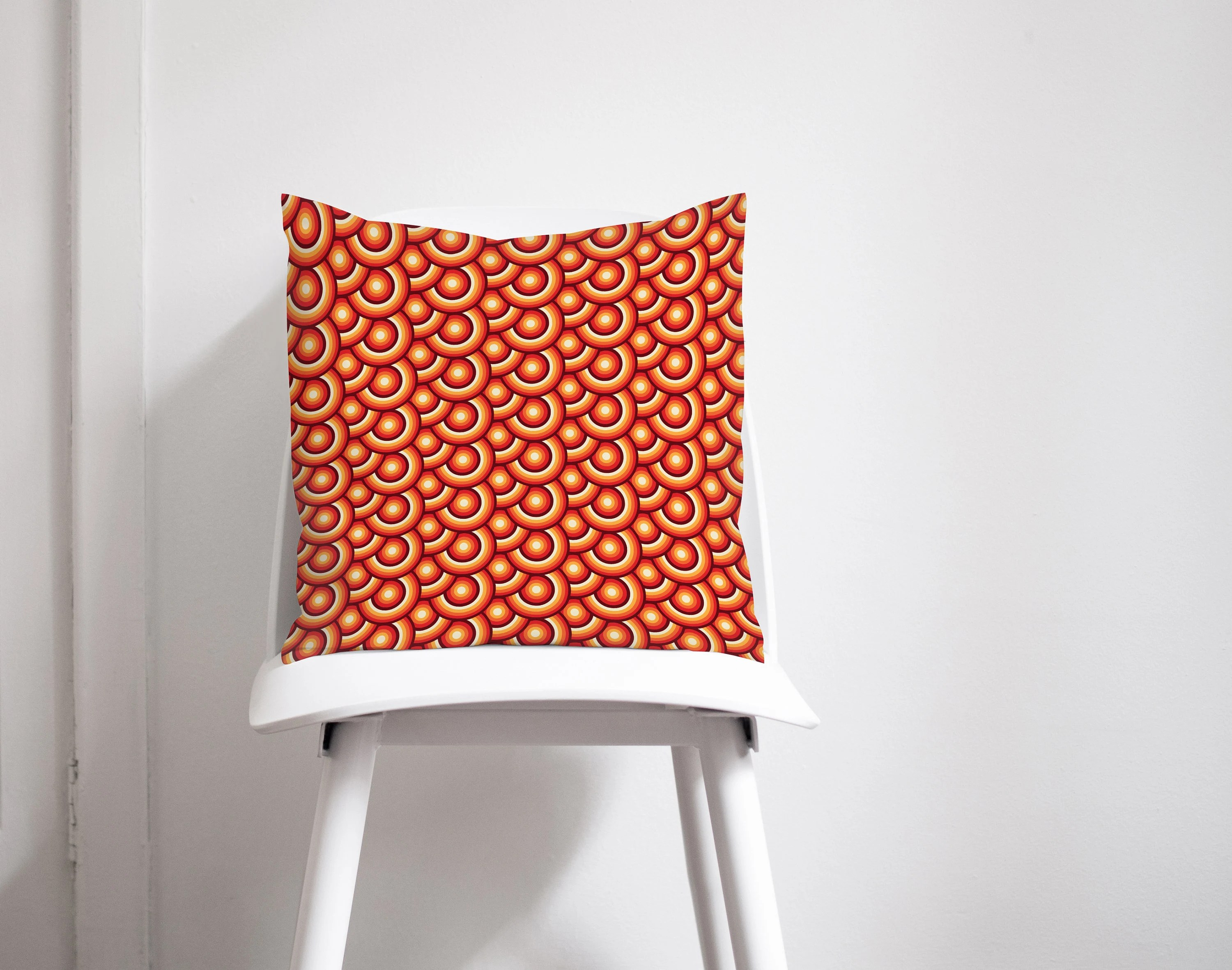 Retro Cushions Orange Cushion Retro Home Decor Mid Century Cushion Orange Throw Pillow Retro Cushions Orange Home Decor Geometric Home Decor Cushion