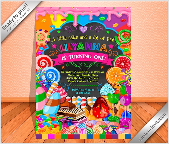 PERSONALIZED Invitation - Candy land party Birthday, Candy party